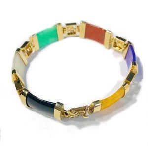 843175819a0 Jewelry - Multi-Color Jadeite Jade Bracelet - 14k Gold